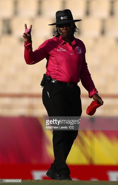 Umpire Jacqueline Williams in action during the ICC Women's World T20 2018 match between England and Bangladesh at Darren Sammy Cricket Ground on...