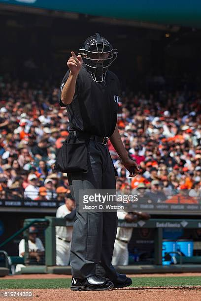 MLB umpire John Tumpane calls a strike during the fifth inning between the San Francisco Giants and the Los Angeles Dodgers at ATT Park on April 7...