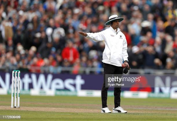 Umpire Kumar Dharmasena calls Jack Leach of England for a no ball after he dismissed Steve Smith of Australia during day two of the 4th Specsavers...