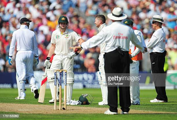 Umpire Marais Erasmus gives Steve Smith of Australia not out after it was referred to the third umpire during day one of the 3rd Investec Ashes Test...