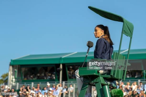 July 02: Umpire Marijana Veljovic during the Wimbledon Lawn Tennis Championships at the All England Lawn Tennis and Croquet Club at Wimbledon on July...