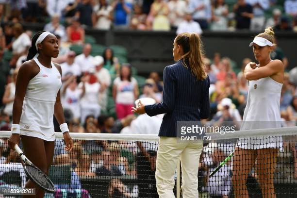 Umpire Marijana Veljovic officiates the toss ahead of the women's singles third round match between US player Cori Gauff and Slovenia's Polona Hercog...