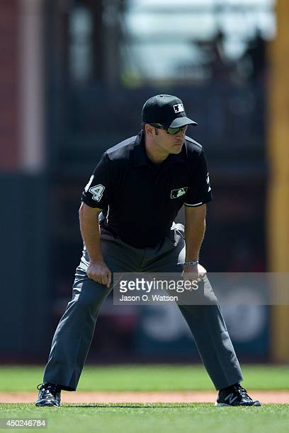 MLB umpire Mark Wegner stands in the infield during the first inning between the San Francisco Giants and the Chicago Cubs at ATT Park on May 28 2014...