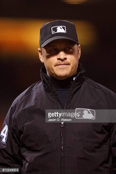 MLB umpire Mark Wegner stands on the field during the first inning between the San Francisco Giants and the Colorado Rockies at ATT Park on September...