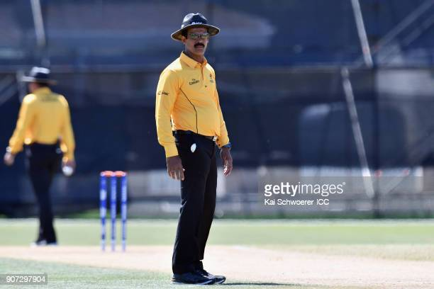 Umpire Nandan looks on during the ICC U19 Cricket World Cup match between the West Indies and Kenya at Lincoln Oval on January 20 2018 in...