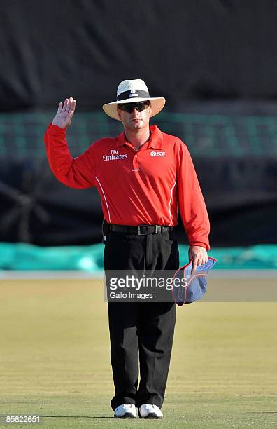 Umpire Paul Baldawn from Germany gestures during the ICC Men's Cricket World Cup qualifier match between Kenya and Bermuda from Senwes Park on April...