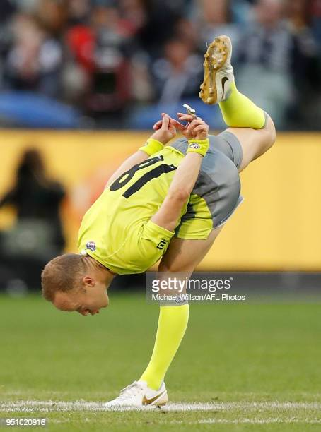 Umpire Ray Chamberlain in action during the 2018 AFL round five ANZAC Day match between the Collingwood Magpies and the Essendon Bombers at the...