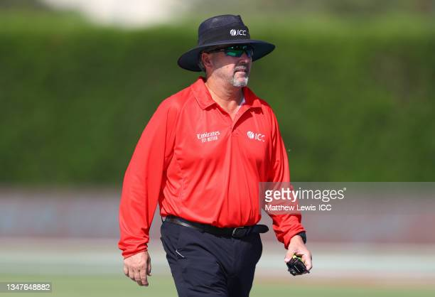 Umpire Richard Illingworth looks on during the India and Australia warm Up Match prior to the ICC Men's T20 World Cup at on October 20, 2021 in...