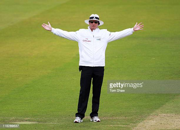 Umpire Rod Tucker signals a wide ball during day four of the 2nd npower Test Match between England and Sri Lanka at Lord's Cricket Ground on June 6...