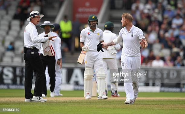 Umpire Rodney Tucker has words with Pakistan batsman Wahab Riaz and Ben Stokes during day three of the 2nd Investec Test match between England and...