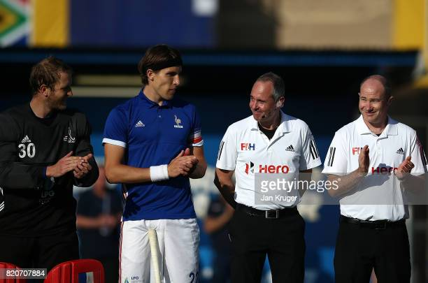Umpire Roel van Eert receives applause officiating in his last match during day 8 of the FIH Hockey World League Men's Semi Finals 5th/ 6th place...