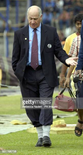 Umpire Rudy Kroetzen walks around the outfield at the Nehru Stadium Guwahati India Sunday 9th April 2006 The 5th ODI between India and England has...