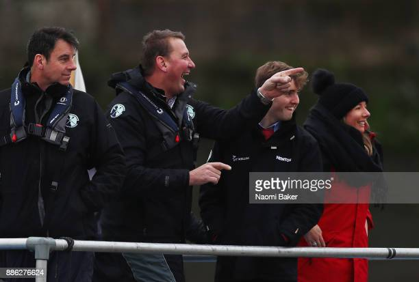 Umpire Sir Matthew Pinsent looks on prior to the Cambridge University Womens Boat Club race during The Cancer Research UK Boat Race Trial 8s on...