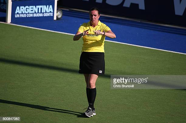Umpire Soledad Iparraguirre looks on during the quarter final match between New Zealand and Great Britain on day 6 of the Hockey World League Final...