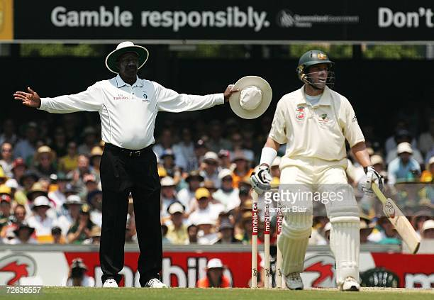 Umpire Steve Bucknor signals a Steve Harmison delivery as a wide during day two of the first Ashes Test Match between Australia and England at The...