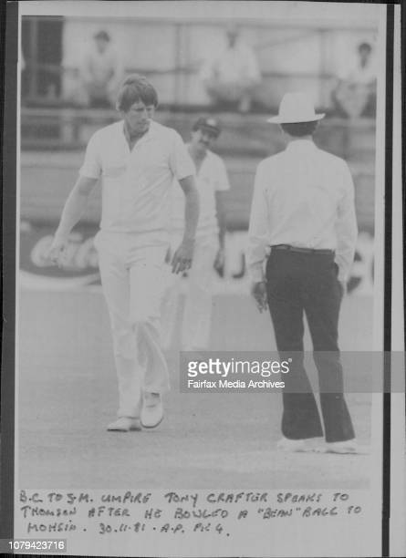 Umpire Tony Crafter speaks to Thomson after he bowled a 'Bean' ball to Mohsin November 30 1981