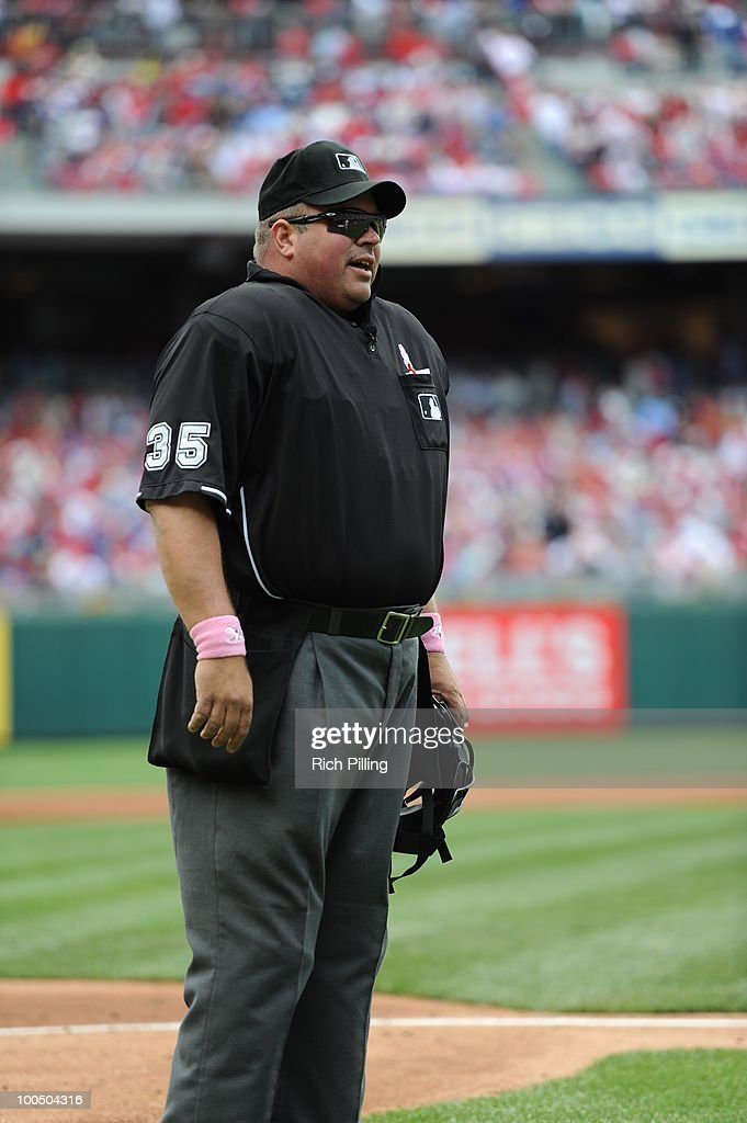 MLB umpire Wally Bell is seen during the game between the Atlanta Braves and the Philadelphia Phillies at Citizens Bank Park in Philadelphia, Pennsylvania on Mother's Day, May 9, 2010. The Phillies defeated the Braves 5-3.