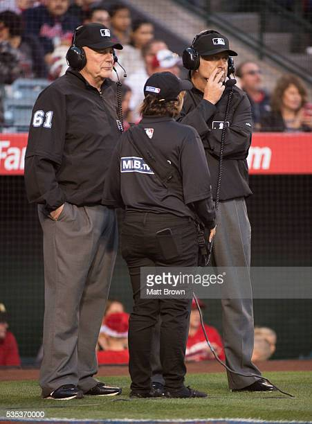 Umpires Bob Davidson and Dale Scott at Angel Stadium of Anaheim on May 20 2016 in Anaheim California