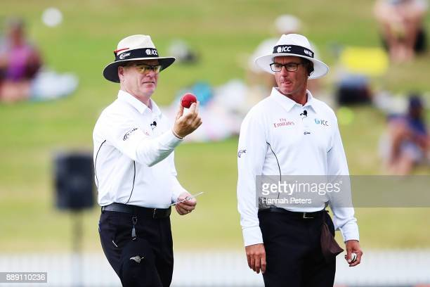 Umpires Bruce Oxenford and Rod Tucker change the ball during day two of the Second Test Match between New Zealand and the West Indies at Seddon Park...
