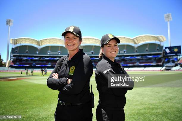 Umpires Claire Polosak and Eloise Sheridan pose for a photo during the Adelaide Strikers v Melbourne Stars Women's Big Bash League Match at Adelaide...