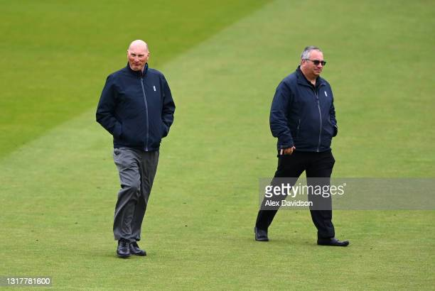 Umpires Neil Mallender and Neil Bainton inspect the outfield as play is delayed due to rain on Day One of the LV= Insurance County Championship match...