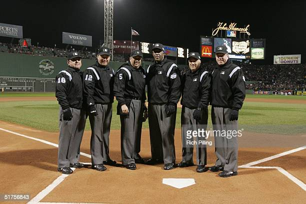 BOSTON MA OCTOBER 24 MLB umpires pose for a group portrait prior to game two of the 2004 World Series against the St Louis Cardinals and Boston Red...