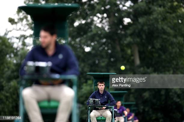 Umpires watch on during qualifying prior to The Championships, Wimbledon 2019 at Bank of England Ground on June 25, 2019 in London, England.