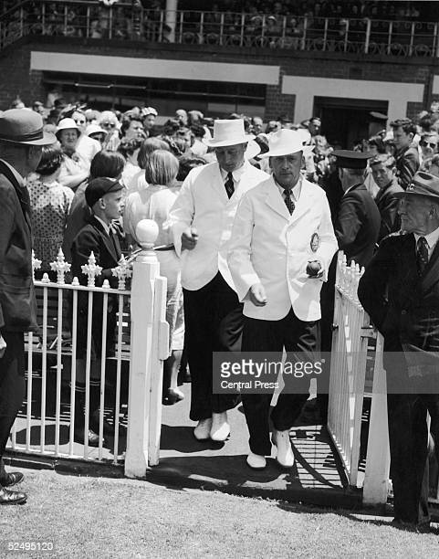 Umpires Wright and Cooper going out for Boxing Day's play during the 2nd Test Match between England and Australia at Melbourne 26th December 1950