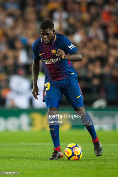 Umtiti during the match between Valencia CF vs FC Barcelona week 13 of La Liga at Mestalla Stadium Valencia SPAIN on 26th November 2017