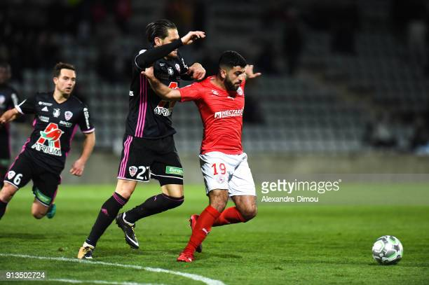 Umut Bozok of Nimes and Anthony Marin of Ajaccio during Ligue 2 match between Nimes and AC Ajaccio at Stade des Costieres on February 2 2018 in Nimes...