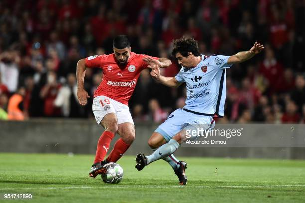 Umut Bozok of Nimes and Gregoire Puel of Gazelec during the French Ligue 2 match between Nimes and Gazelec Ajaccio at Stade des Costieres on May 4...
