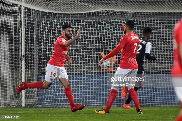 Umut Bozok of Nimes celebrates his Goal during the French Ligue 2 match between Nimes and Tours at Stade des Costieres on February 16 2018 in Nimes...