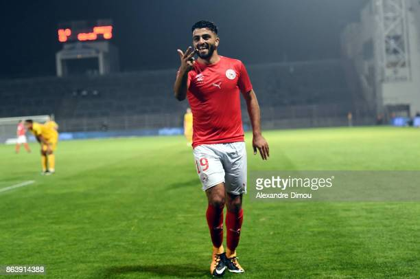 Umut Bozok of Nimes celebrates his third goal during the Ligue 2 match between Nimes Olympique and Brest on October 20 2017 in Nimes France