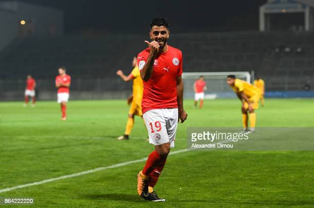 Umut Bozok of Nimes celebrates his Third Goal during the Ligue 2 match between Nimes Olympique and Stade Brestois at on October 20 2017 in Nimes...