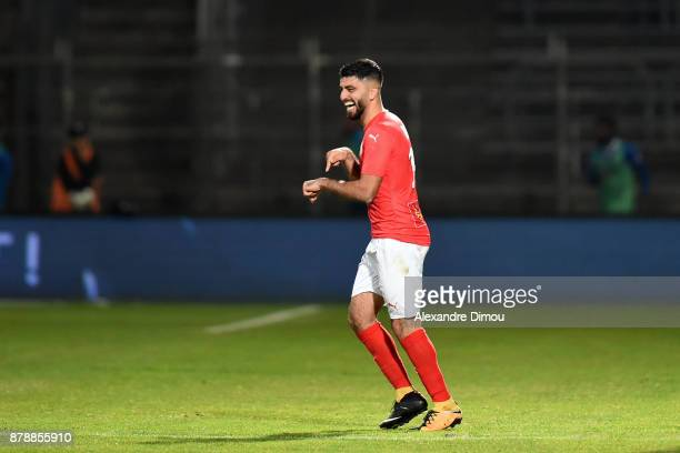 Umut Bozok of Nimes celebrates one Goal during the Ligue 2 match between Nimes and Bourg en Bresse at Stade des Costieres on November 24 2017 in...