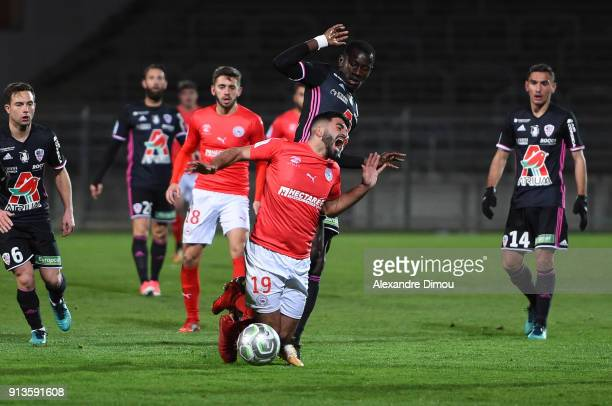 Umut Bozok of Nimes during Ligue 2 match between Nimes and AC Ajaccio at Stade des Costieres on February 2 2018 in Nimes France