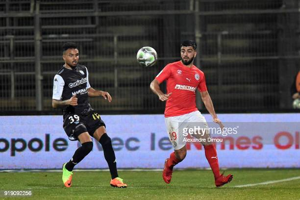 Umut Bozok of Nimes during the French Ligue 2 match between Nimes and Tours at Stade des Costieres on February 16 2018 in Nimes France