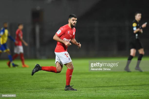 Umut Bozok of Nimes during the French Ligue 2 match between Nimes and Sochaux at Stade des Costieres on April 13 2018 in Nimes France
