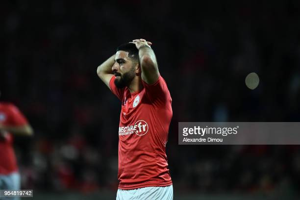 Umut Bozok of Nimes during the French Ligue 2 match between Nimes and Gazelec Ajaccio at Stade des Costieres on May 4 2018 in Nimes France
