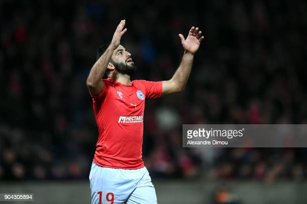 Umut Bozok of Nimes looks dejected during the Ligue 2 match between Nimes and Lens at Stade des Costieres on January 12 2018 in Nimes France