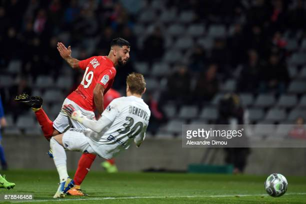Umut Bozok of Nimes scores one Goal during the Ligue 2 match between Nimes and Bourg en Bresse at Stade des Costieres on November 24 2017 in Nimes...
