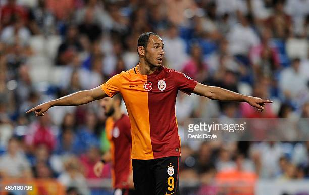 Umut Bulut of Galatasaray looks on during the Santiago Bernabeu Trophy match between Real Madrid and Galatasaray at Estadio Santiago Bernabeu on...