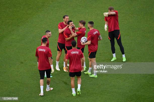 Umut Meras of Turkey interacts with team mates during the Turkey Training Session ahead of the UEFA Euro 2020 Group A match between Turkey and Wales...