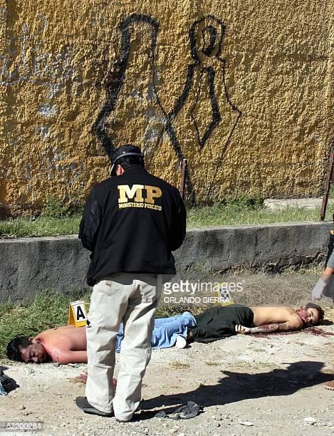 Un agente investigador del Ministerio Publico observa los cadaveres de dos presuntos jefes de la Mara 18 ultimados a balazos al sur de Ciudad de...