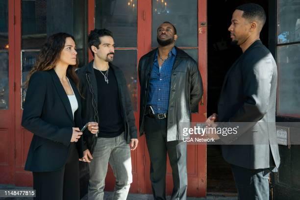 "Un Asunto de Familia"" Episode 402 -- Pictured: Alice Braga as Teresa Mendoza, Alfonso Herrera as Javier, Mustafa Harris as Louis, Chris Greene as..."