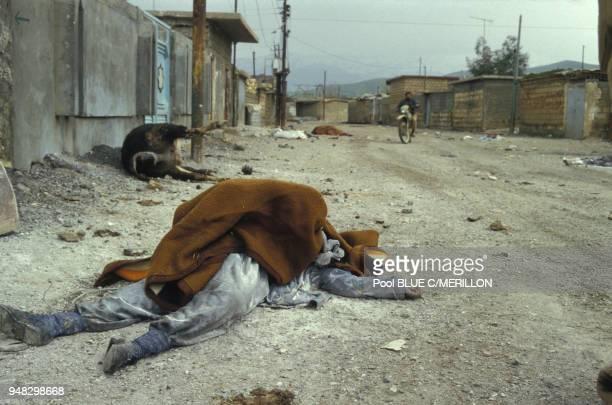Un cadavre ayant été gazé en mars 1988 dans le village de Halabja, Irak.