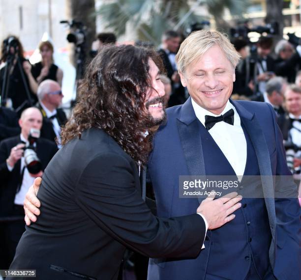 Un Certain Regard Jury member Argentine director Lisandro Alonso and USDanish actor Viggo Mortensen arrive for the Closing Awards Ceremony of the...