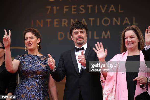 Un Certain Regard jury members Annemarie Jacir Un Certain Regard president Benicio Del Toro with jury members and Julie Huntsinger wave at the...