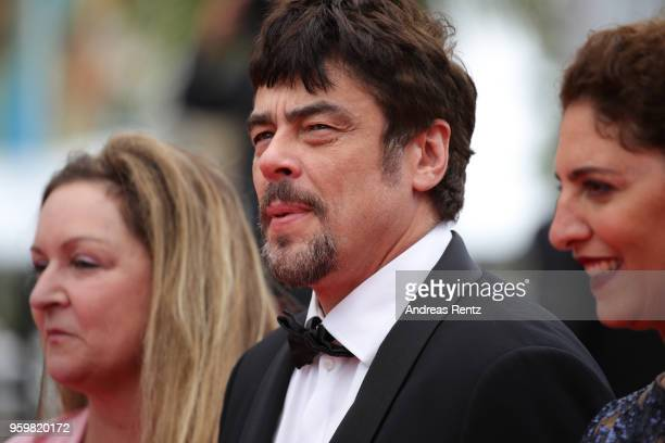 Un Certain Regard jury members Julie Huntsinger Un Certain Regard president Benicio Del Toro with jury member Annemarie Jacir attend the screening of...