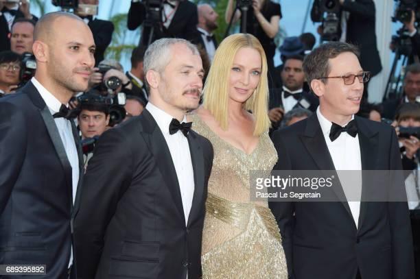 Un Certain Regard jury members Reda Kateb Uma Thurman Karel Och and Mohamed Diab attend the Closing Ceremony of the 70th annual Cannes Film Festival...